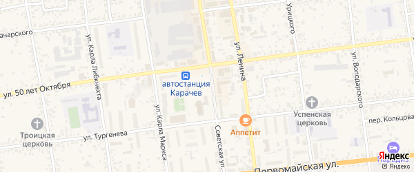 Территория сдт Почта за р.Снежеть на карте Карачева с номерами домов