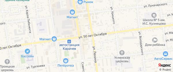 Улица 50 лет Октября на карте Карачева с номерами домов