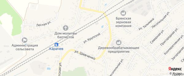 Улица Крупской на карте Карачева с номерами домов