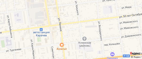 Улица Островского на карте Карачева с номерами домов