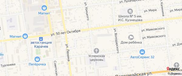 Улица Урицкого на карте Карачева с номерами домов
