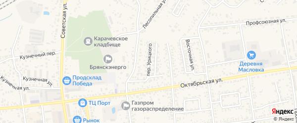 Переулок Урицкого на карте Карачева с номерами домов