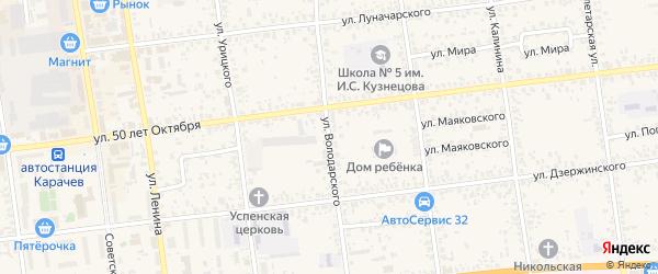Улица Володарского на карте Карачева с номерами домов