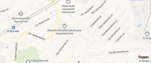 Железнодорожная улица на карте Карачева с номерами домов