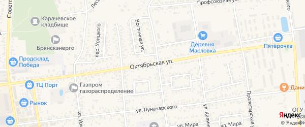 Октябрьская улица на карте Карачева с номерами домов