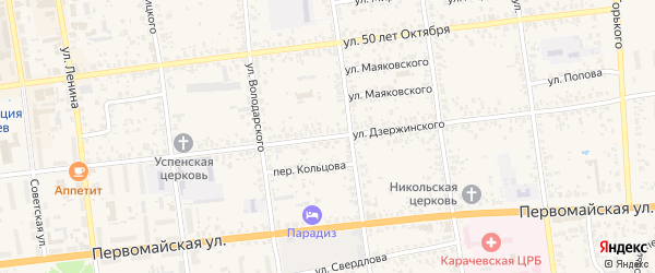 Улица Дзержинского на карте Карачева с номерами домов