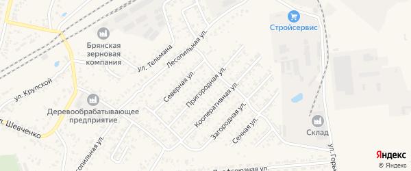 Пригородная улица на карте Карачева с номерами домов