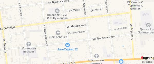 Улица Маяковского на карте Карачева с номерами домов