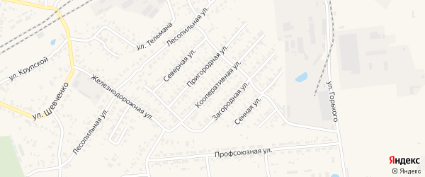 Кооперативная улица на карте Карачева с номерами домов