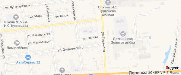 Улица Попова на карте Карачева с номерами домов