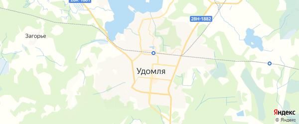 Карта Удомли с районами, улицами и номерами домов