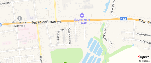 Первомайский переулок на карте Карачева с номерами домов