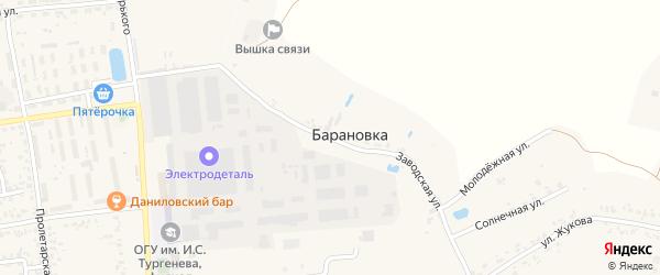 Заводская улица на карте деревни Барановки с номерами домов