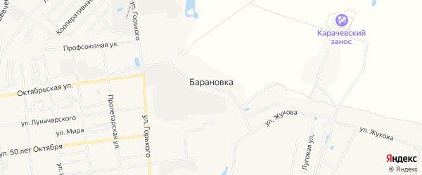 Карта деревни Барановки в Брянской области с улицами и номерами домов