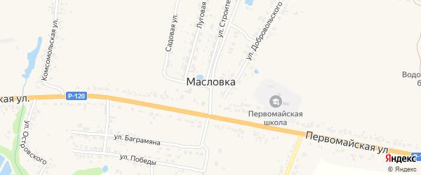 Первомайский переулок на карте деревни Масловки с номерами домов