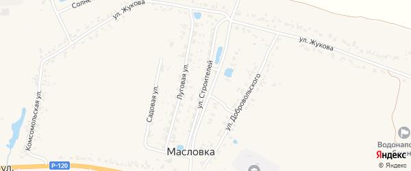 Улица Строителей на карте деревни Масловки с номерами домов