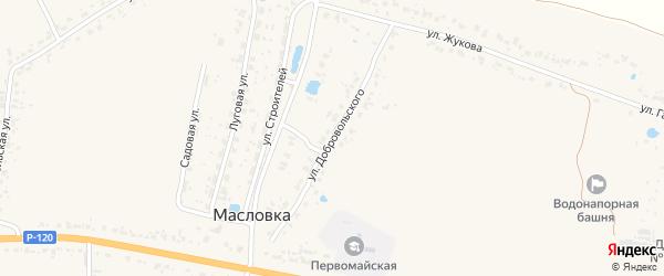 Улица Добровольского на карте деревни Масловки с номерами домов