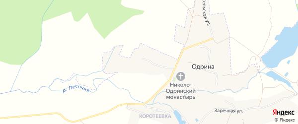Карта села Одрины в Брянской области с улицами и номерами домов