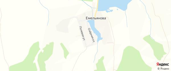 Карта деревни Емельянова в Брянской области с улицами и номерами домов