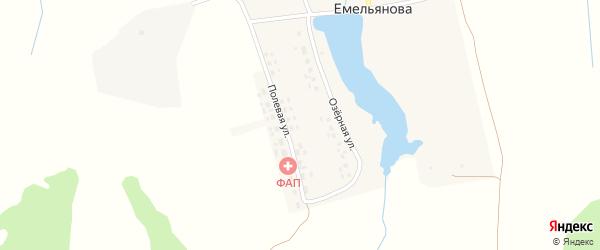 Полевая улица на карте деревни Емельянова с номерами домов