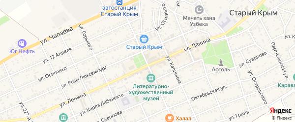 Улица Исаева на карте Старого Крыма с номерами домов