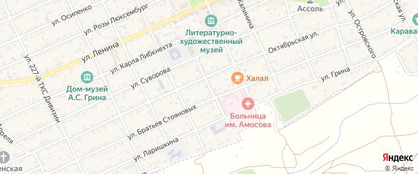 Улица Луначарского на карте Старого Крыма с номерами домов