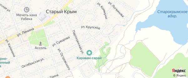 Пионерский переулок на карте Старого Крыма с номерами домов