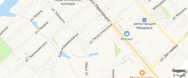 Улица Петра Хлюстина на карте Мещовска с номерами домов
