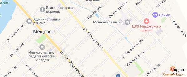 Улица Володарского на карте Мещовска с номерами домов