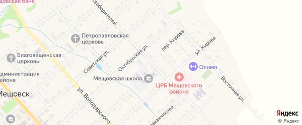 Улица Освободителей на карте Мещовска с номерами домов