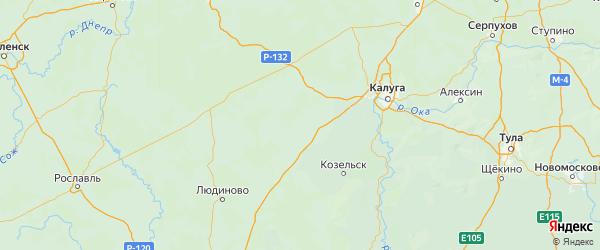 Карта Мещовского района Калужской области с городами и населенными пунктами
