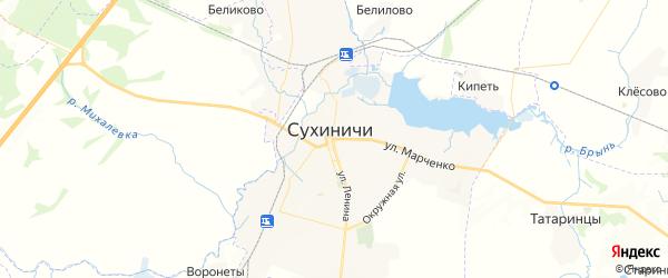 Карта Сухиничей с районами, улицами и номерами домов
