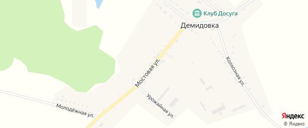 Мостовая улица на карте села Демидовки с номерами домов