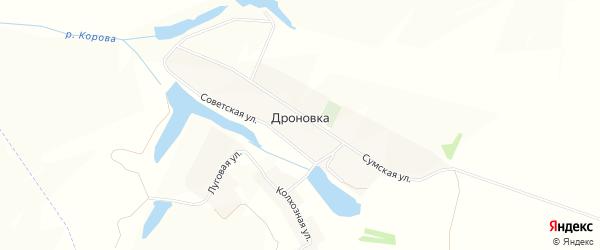 Карта села Дроновки в Белгородской области с улицами и номерами домов