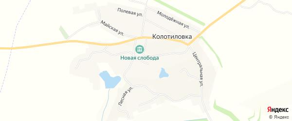 Карта села Колотиловки в Белгородской области с улицами и номерами домов