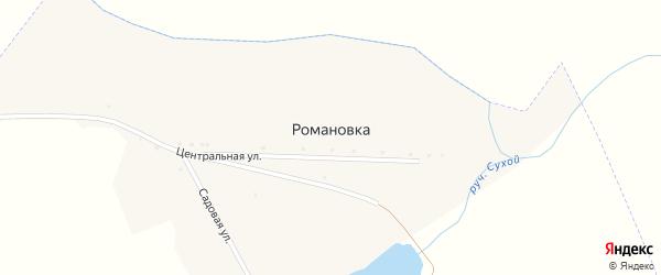 Центральная улица на карте села Романовки с номерами домов