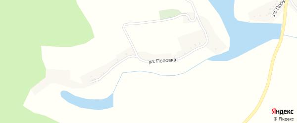 Улица Поповка на карте села Теребрено с номерами домов