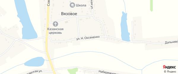 Улица Н.Оксененко на карте Вязового села с номерами домов