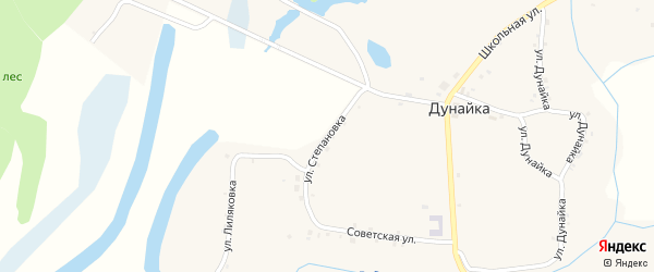 Улица Степановка на карте села Дунайки с номерами домов