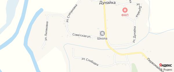 Советская улица на карте села Дунайки с номерами домов