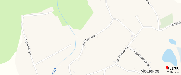 Улица Тагинка на карте Мощеного села с номерами домов