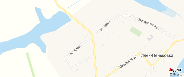 Улица Краек на карте села Илека-Пеньковки с номерами домов