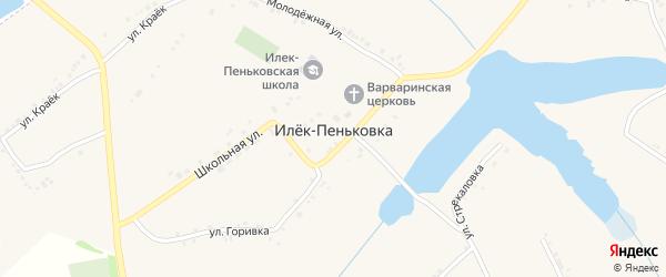 Центральная улица на карте села Илека-Пеньковки с номерами домов