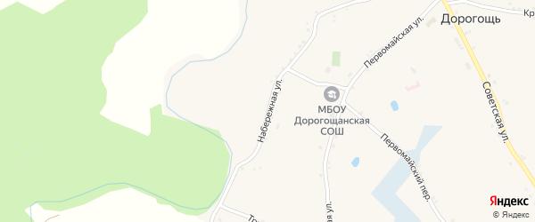 Набережная улица на карте села Дорогощи с номерами домов
