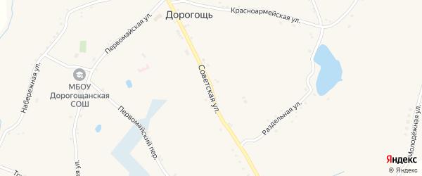 Советская улица на карте села Дорогощи с номерами домов