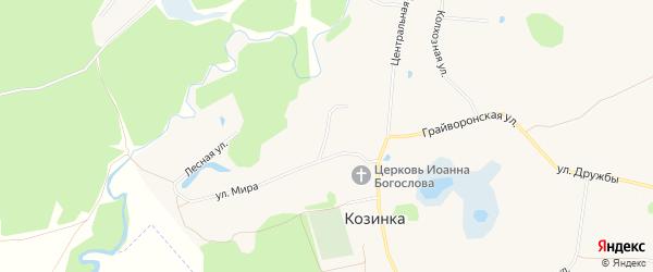 Карта села Козинки в Белгородской области с улицами и номерами домов