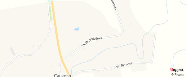 Улица Воробьевка на карте села Санково с номерами домов