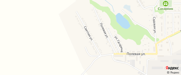Светлая улица на карте поселка Красной Яруги с номерами домов