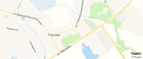 Карта села Глотово в Белгородской области с улицами и номерами домов