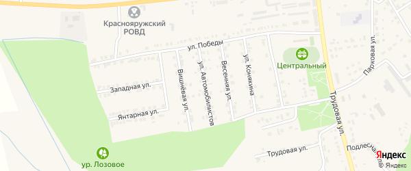 Улица Автомобилистов на карте поселка Красной Яруги с номерами домов